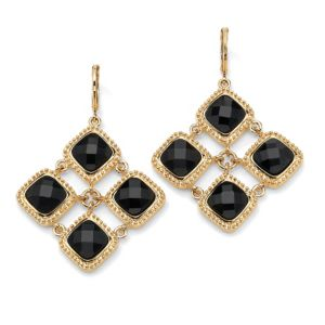Black Lucite Checkerboard Earrings