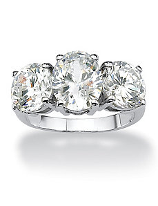 Oval and Round Cubic Zirconia Ring by PalmBeach Jewelry