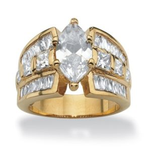Marquise and Princess-Cut Cubic Zirconia Ring