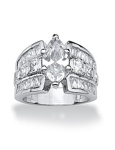 Marquise and Princess-Cut Cubic Zirconia Ring by PalmBeach Jewelry