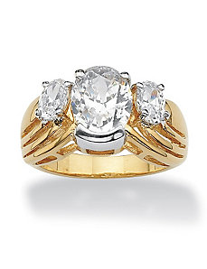 Oval-Cut Cubic Zirconia Ring by PalmBeach Jewelry