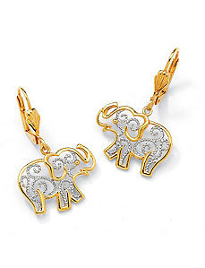 Filigree Elephant Pierced Earrings by PalmBeach Jewelry
