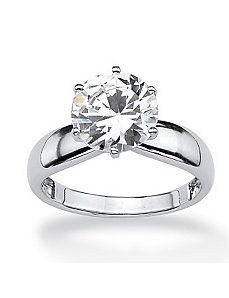 Round Cubic Zirconia Solitaire Ring by PalmBeach Jewelry