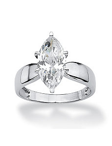 Marquise-Cut Cubic Zirconia Solitaire Ring by PalmBeach Jewelry