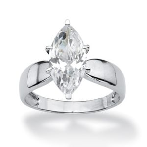 Marquise-Cut Cubic Zirconia Solitaire Ring