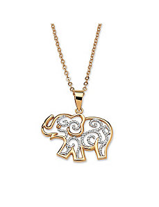 Filigree Elephant Pendant & Chain by PalmBeach Jewelry