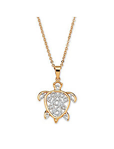 Filigree Turtle Pendant & Chain by PalmBeach Jewelry