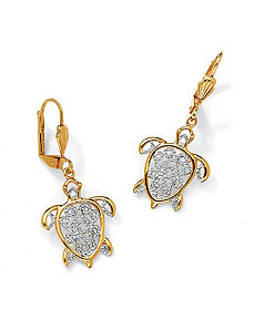 Filigree Turtle Pierced Earrings by PalmBeach Jewelry