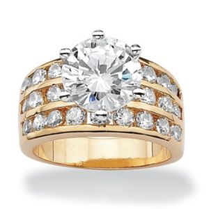 Round Cubic Zirconia Channel Ring