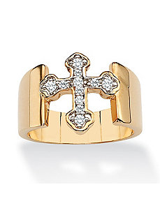Cubic Zirconia Cross Band Ring by PalmBeach Jewelry
