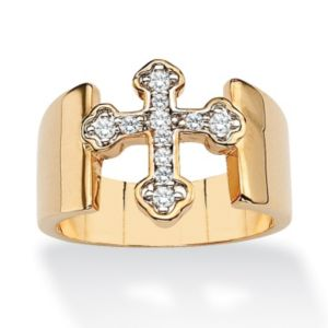 Cubic Zirconia Cross Band Ring