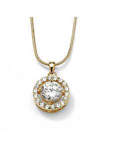 Cubic Zirconia Circle Pendant by PalmBeach Jewelry