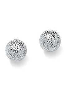 Diamond-Cut Stud Pierced Earrings by PalmBeach Jewelry