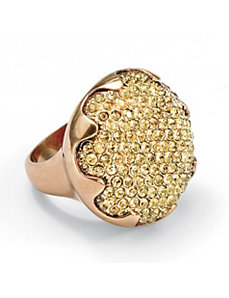 Yellow Crystal Round Ring by PalmBeach Jewelry