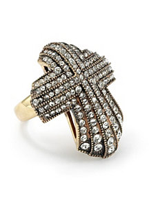 Crystal Cross Ring by PalmBeach Jewelry