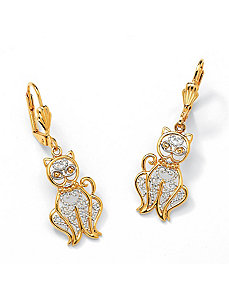 Filigree Cat Drop Pierced Earrings by PalmBeach Jewelry