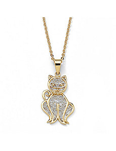Filigree Cat Pendant and Chain by PalmBeach Jewelry