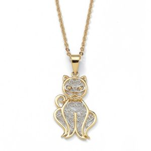 Filigree Cat Pendant and Chain