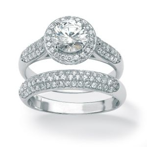Round Cubic Zirconia Ring Set