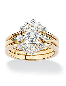 Diamond Crown Wedding Ring Set by PalmBeach Jewelry