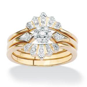 Diamond Crown Wedding Ring Set