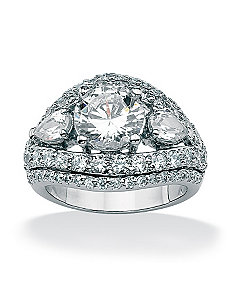 Round and Pear Cubic Zirconia Ring by PalmBeach Jewelry