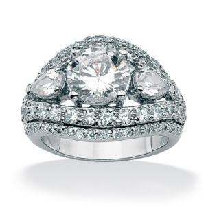 Round and Pear Cubic Zirconia Ring