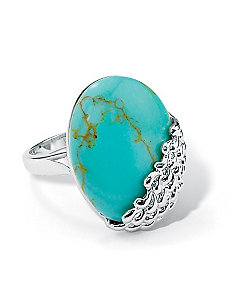 Simulated Turquoise Cabochon Ring by PalmBeach Jewelry