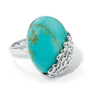Simulated Turquoise Cabochon Ring