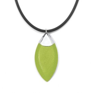 Green Stingray Silvertone Pendant