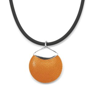 Orange Stingray Silvertone Pendant