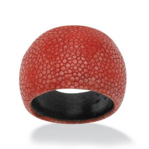 Red Dome-Shaped Red Stingray Ring