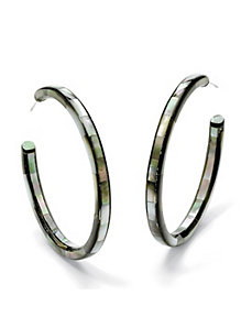 Mother-of-Pearl Hoop Earrings by PalmBeach Jewelry