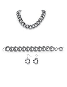 3-Piece Curb-Link Chain Set by PalmBeach Jewelry