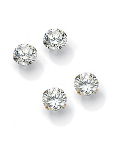 Round Cubic Zirconia Stud Pierced Earring Set by PalmBeach Jewelry
