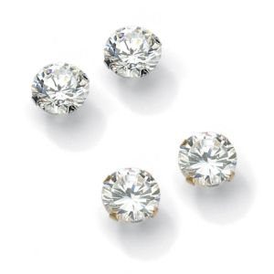 Round Cubic Zirconia Stud Pierced Earring Set