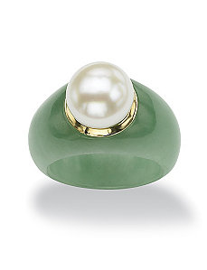 Jade and Freshwater Pearl Ring by PalmBeach Jewelry