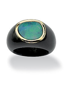 Blue Opal and Black Jade Ring by PalmBeach Jewelry