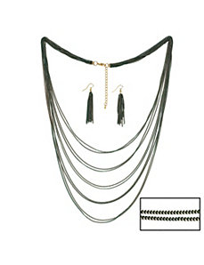 Multi-Chain Necklace & Earring Set by PalmBeach Jewelry