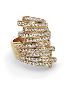 Multi-Row Cubic Zirconia Bypass Ring by PalmBeach Jewelry