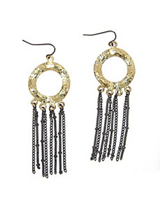 Tutone Drop Pierced Earrings by PalmBeach Jewelry