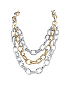 Tutone Cable Chain Necklace by PalmBeach Jewelry