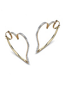 Diamond Accent Heart Hoop Earrings by PalmBeach Jewelry