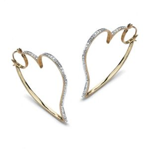 Diamond Accent Heart Hoop Earrings