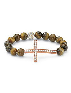 Horizontal Cross Tiger's-Eye Bracel by PalmBeach Jewelry