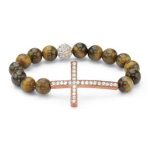 Horizontal Cross Tiger's-Eye Bracel