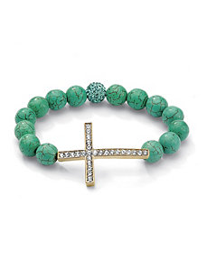 Horizontal Cross Turquoise Bracelet by PalmBeach Jewelry