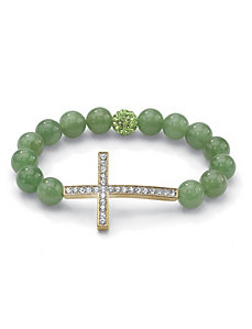 Horizontal Cross Jade Bracelet by PalmBeach Jewelry