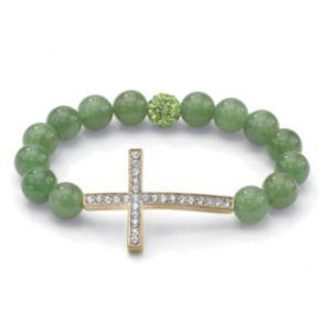 Horizontal Cross Jade Bracelet