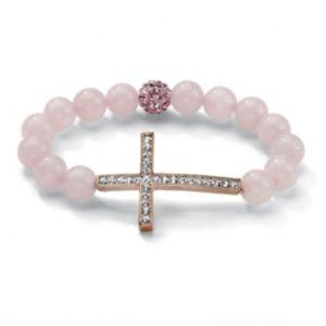 Horizontal Cross Pink Bracelet